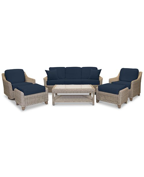 Willough Wicker Outdoor 6-Pc. Set (1 Sofa, 1 Club Chair, 1 Swivel Glider, 1  Coffee Table & 2 Ottomans) with Custom Sunbrella® Colors, Created For ...