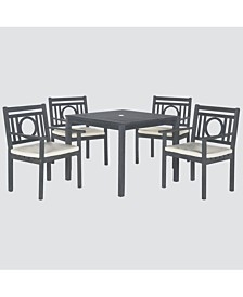 Vallon Outdoor 5-Pc. Dining Set (Dining Table & 4 Chairs), Quick Ship