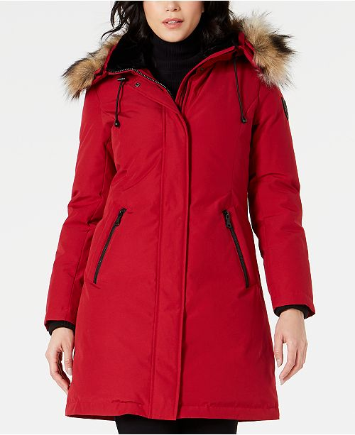 Vince Camuto Petite Hooded Faux-Fur-Trim Parka, Created for Macy's