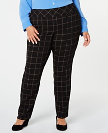 Charter Club Plus Size Lexia Windowpane Plaid Pants, Created for Macy's