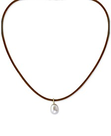 "EFFY® Cultured Freshwater Pearl (9mm) & Diamond Accent Leather Cord 16"" Pendant Necklace in 14k Gold"
