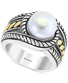 EFFY® Cultured Freshwater Pearl (10mm) Two-Tone Statement Ring in Sterling Silver and 18k Gold Over Sterling Silver