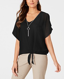 JM Collection Tie-Front Necklace Top, Created for Macy's