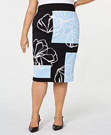 Plus Size Printed Scuba Pencil Skirt, Created for Macy's
