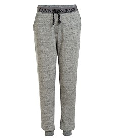 Calvin Klein Jeans Big Boys Logo Waistband Fleece Joggers