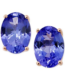 Tanzanite Oval Stud Earrings (1-1/3 ct. t.w.) in 14k Rose Gold