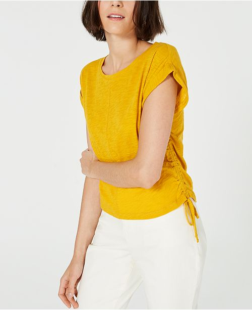 Bar III Side-Drawstring Cotton Top, Created for Macy's
