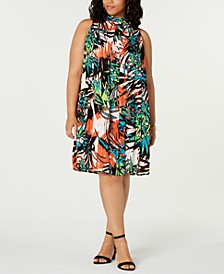 Trendy Plus Size Mock-Neck Dress
