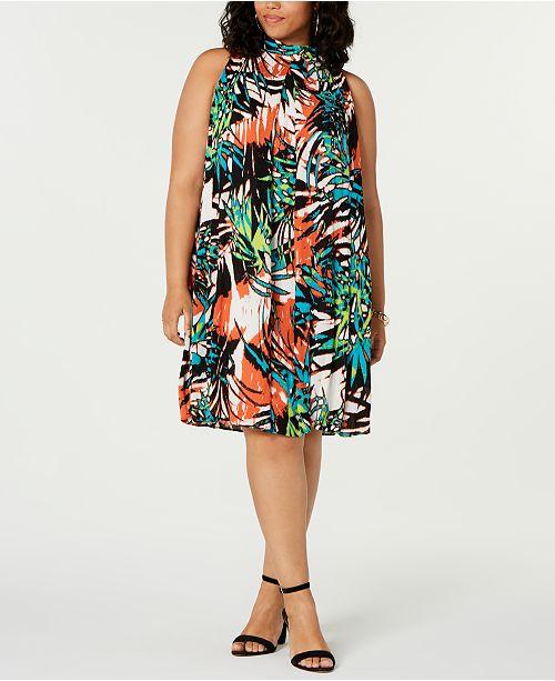 Robbie Bee Trendy Plus Size Mock-Neck Dress