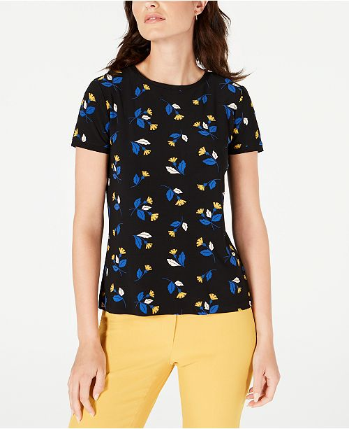Anne Klein Woodstock Printed Button-Back Top
