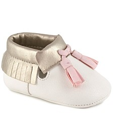 Baby Girl Soft Vinyl 3/4 High Moccasin with Fringe and Tassels