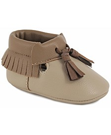 Baby Boy Pebbled PU 3/4 High Moccasin with Fringe and Tassels