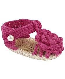Baby Girl T-Strap Sandal in Fuchsia with Flower Overlay