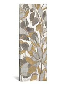 """Painted Tropical Screen, Gray Gold I by Silvia Vassileva Gallery-Wrapped Canvas Print - 36"""" x 12"""" x 0.75"""""""