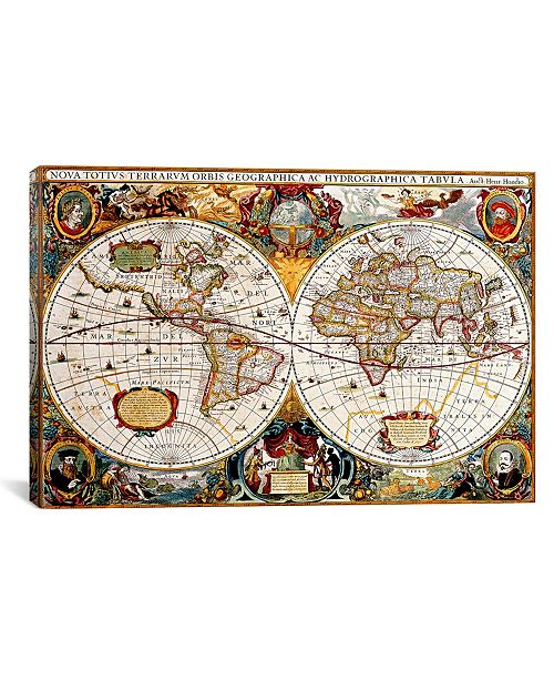 """iCanvas Antique Double Hemisphere Map of The World Gallery-Wrapped Canvas Print - 40"""" x 60"""" x 1.5"""""""
