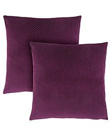 """18"""" x 18"""" Diamond Velvet Pillow, Set Of 2"""
