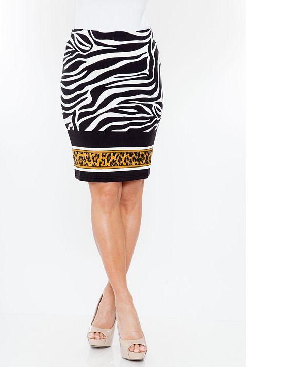 White Mark Zebra Print Pencil Skirt