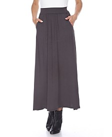 White Mark Maxi Skirt with Pockets