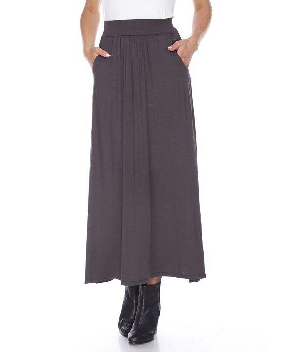 White Mark Maxi Skirt with Pockets