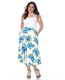 Plus Flower Print Tasmin Flare Midi Skirts