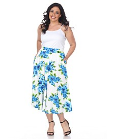 White Mark Plus Flower Print Tasmin Flare Midi Skirts