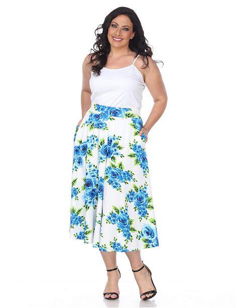 White Mark Plus Flower Print Tasmin Flare Midi Skirts