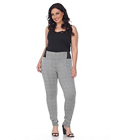 Plus Size Jacquard Slim Pants