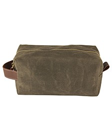 Cathys's Concepts Personalized Men's Olive Waxed Canvas and Leather Dopp Kit