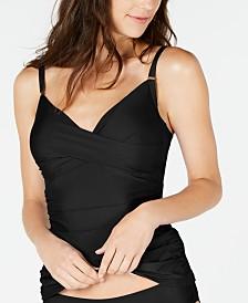 Calvin Klein Ruched Tummy-Control Tankini Top