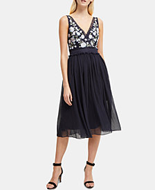 French Connection Ambriana Embroidered Fit & Flare Dress