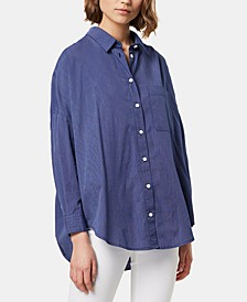 Lilla Cotton Dotted-Stripe Button-Front Shirt