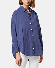 French Connection Lilla Cotton Dotted-Stripe Button-Front Shirt