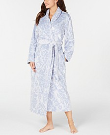 Women's Scroll Plush Long Robe, Created for Macy's
