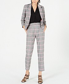 Plaid Notch-Lapel Jacket, Inverted-Pleat Top & Plaid Cropped Pants, Created for Macy's