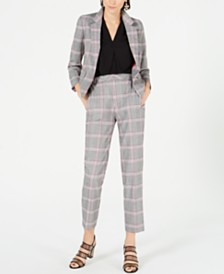 Bar III Plaid Notch-Lapel Jacket, Inverted-Pleat Top & Plaid Cropped Pants, Created for Macy's