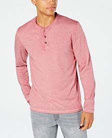Men's Heathered Henley, Created for Macy's
