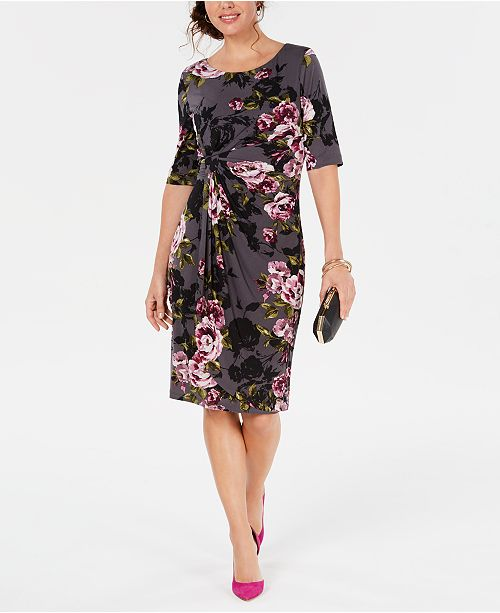 Connected Petite Floral-Print Sarong Dress