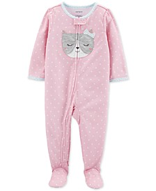 Baby Girls 1-Pc. Dot-Print Cat Pajama
