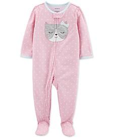Baby Girls 1-Pc. Dot-Print Cat Pajama