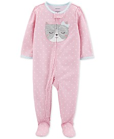 Carter's Baby Girls 1-Pc. Dot-Print Cat Pajama