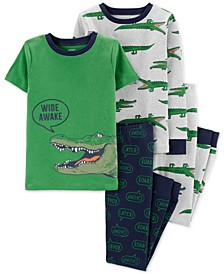 Little & Big Boys 4-Pc. Wide Awake Alligator Cotton Pajama Set