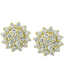 Giani Bernini Cubic Zirconia Starburst Stud Earrings in 18k Gold-Plated Sterling Silver, Created for Macy's
