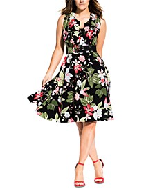 Trendy Plus Size Belted Fit & Flare Dress