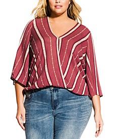 Trendy Plus Size Faux-Wrap Top