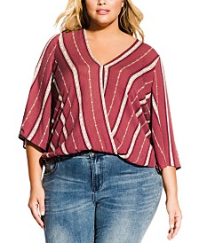 City Chic Trendy Plus Size Faux-Wrap Top