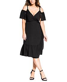 Trendy Plus Size Off-Shoulder Wrap Dress