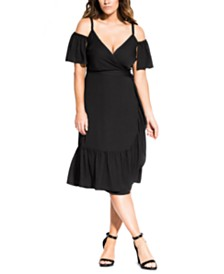 City Chic Trendy Plus Size Off-Shoulder Wrap Dress