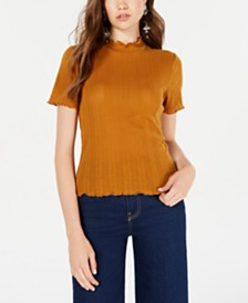 Planet Gold Juniors' Mock-Turtleneck Eyelet Top