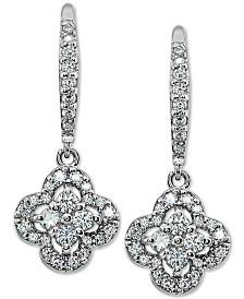 Giani Bernini Cubic Zirconia Flower Drop Earrings in Sterling Silver, Created for Macy's