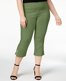 JM Collection Plus & Petite Plus Size Tummy Control Capri Pants, Created for Macy's